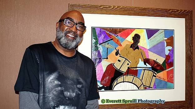 Jazzy Drummer - framed by Everett Spruill