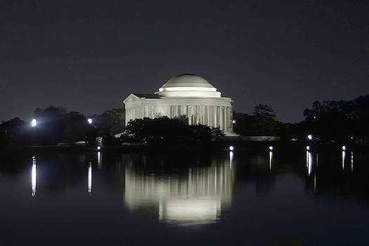 Jefferson Memorial At Night Washington DC by Kimberly Blom-Roemer