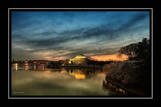 Jefferson Memorial Cherry Blossoms 2 by Scott Fracasso