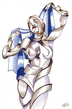 Jen B. 406.01 - Abstract Futurist Figurative Ink Drawing by Mark Webster
