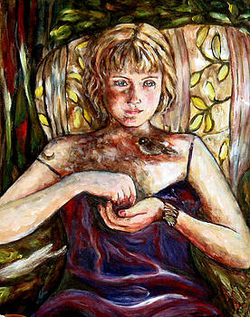 Girl And Bird Painting by Frances Gillotti