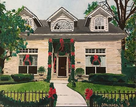 Jerry and Roger's house decorated for Christmas by Gary Springer