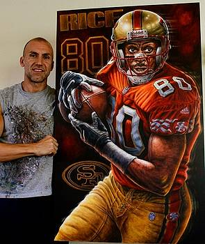 Jerry Rice 10 Limited Edition Giclee Canvas  Prints For Sale   48 X 30 Inches   by Sports Art World Wide John Prince