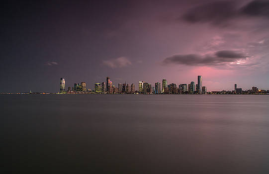 Jersey city view during sunset on a stormy day by Andriy Stefanyshyn
