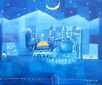 Jerusalem- blue night by Alexandra Krasuska