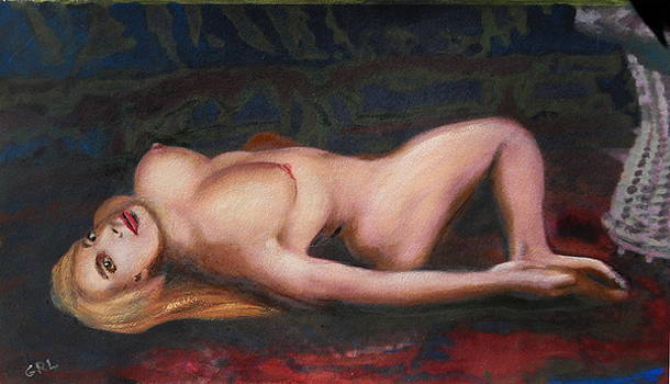 G Linsenmayer - Jess Reclining Original Fine Art Nude Multimedia Painting