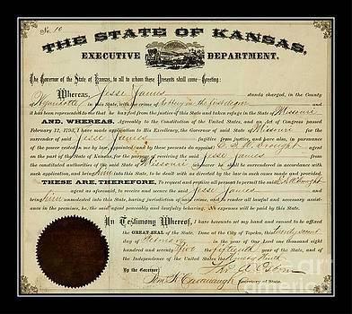 Peter Ogden Collection - Jesse James Kansas Extradition Order 1875