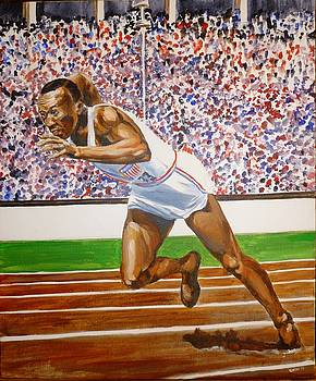 Jesse Owens Berlin 1936 by Bryan Bustard