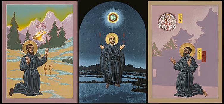 Jesuit Triptych-St Peter Faber-St Ignatius-St Francis Xavier by William Hart McNichols