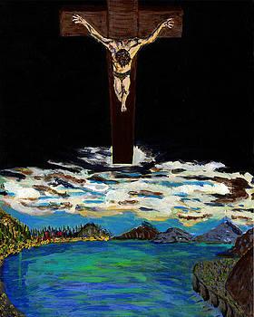 Jesus Christ overlooks the world by Andrew Broadbent