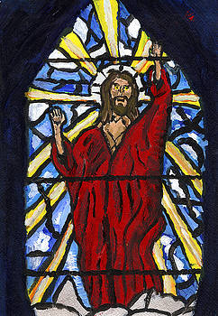Jesus Christ stained Glass by Andrew Broadbent
