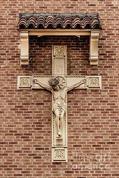 Jesus Crucifix - Catholic Church Brick Wall  by Gary Whitton
