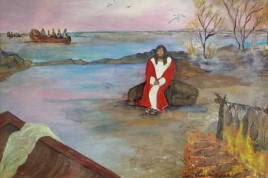 Jesus waiting for deciples by Antoinette Mcfadden