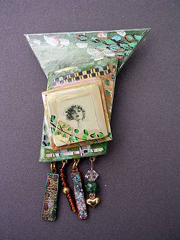 Jewelry painted collage pin or neckpace by Barbara Yalof