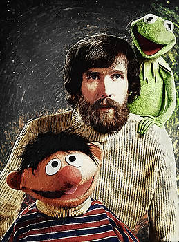 Jim Henson Together with Ernie and Kermit the Frog by Taylan Apukovska