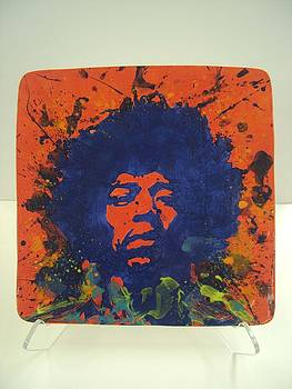 Jimi Hendrix Hand Made Ceramic Tile by Chris Mackie