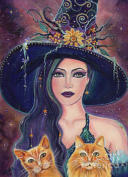 Jinx and Jazz Halloween witch with kitties by Renee Lavoie
