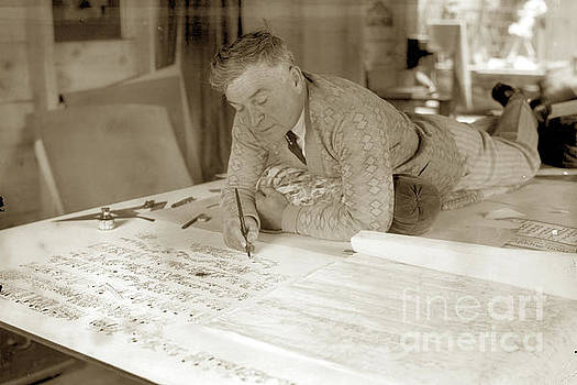 California Views Mr Pat Hathaway Archives - Jo Mora working on his California Carte 1927