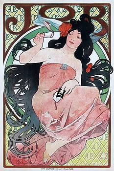 JOB, cigarette paper advertising poster by Alfons Mucha, 1898 by Vintage Printery