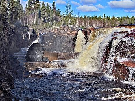 Jockfall, waterfall in the north of Sweden by Tamara Sushko