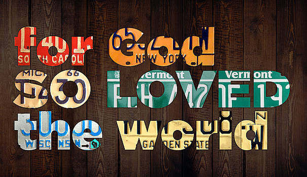 John 3 16 For God So Loved The World Bible Verse Recycled Vintage License Plate Art by Design Turnpike