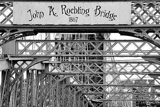 John A. Roebling Bridge Up Close in Black and White by Gregory Ballos