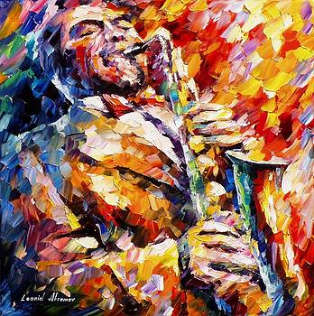 John Coltrane - PALETTE KNIFE Oil Painting On Canvas By Leonid Afremov by Leonid Afremov