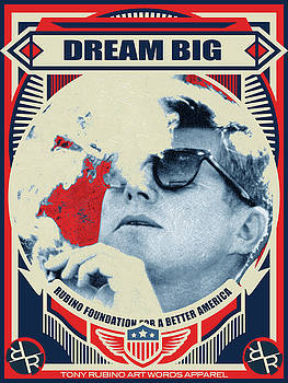 John F Kennedy Cigar and Sunglasses Rise Poster by Tony Rubino