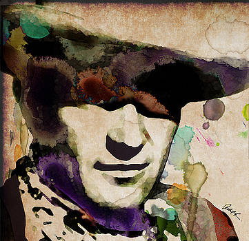 John Wayne Cowboy Sepia Watercolor 2018 by Robert R Splashy Art Abstract Paintings