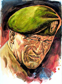 John Wayne - Green Berets painting poster by Spiros Soutsos