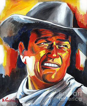 John Wayne painting portrait - Hondo by Spiros Soutsos