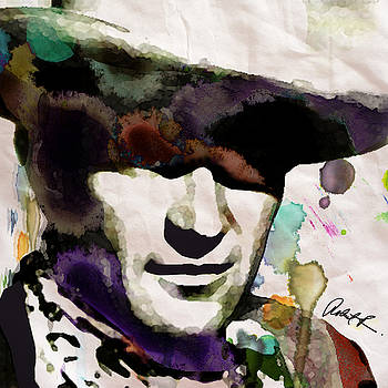 JOHN WAYNE WATERCOLOR POP ART PAINTING by Robert R GIANT COWBOY 2017 by Robert R Splashy Art Abstract Paintings