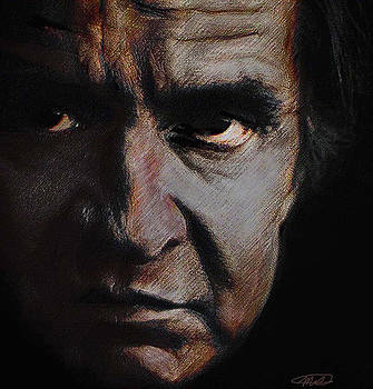 Johnny Cash pondering by Michelle Dick