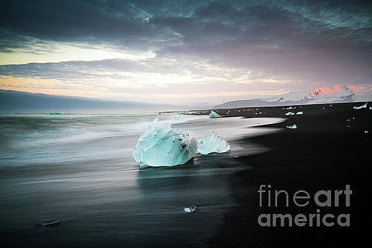 Jokulsarlon Beach Sunrise Alpenglow by Mike Reid