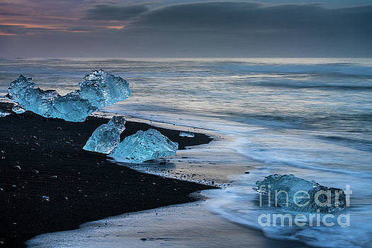 Jokulsarlon Blue Ice Dusk Beach by Mike Reid