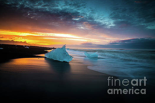 Jokulsarlon Blue Ice Sunrise Serenity by Mike Reid