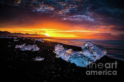 Jokulsarlon Diamonds on the Beach by Mike Reid