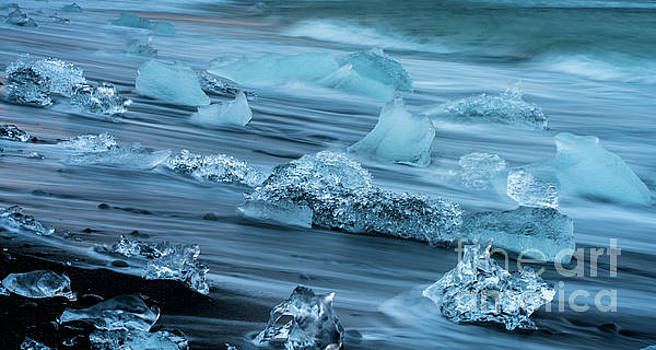 Jokulsarlon Glacial Ice on the Beach by Mike Reid