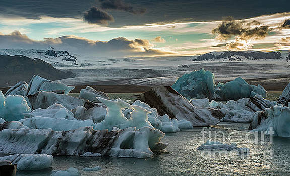 Jokulsarlon Ice Lagoon Dusk Light by Mike Reid