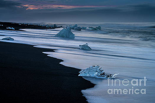 Jokulsarlon Iceland Beach Ice Sunrise by Mike Reid