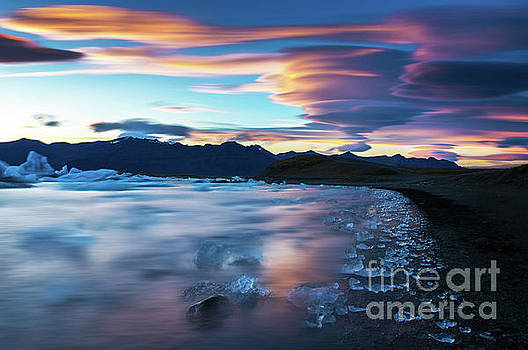 Jokulsarlon Iceland Glacial Ice Lenticular Sunset by Mike Reid