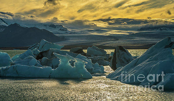 Jokulsarlon Iceland Glacial Ice Sunset Landscape by Mike Reid