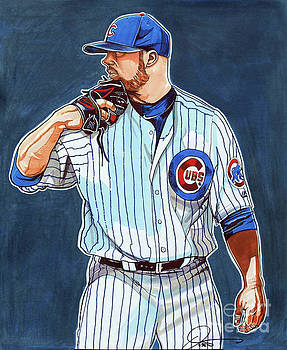 Jon Lester Chicago Cubs by Dave Olsen