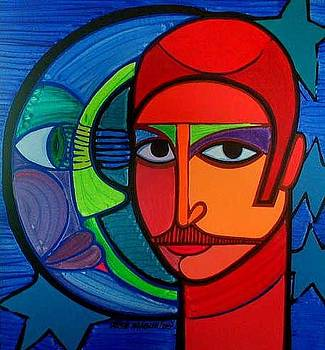 Jose Miguel the son of the artist and his cosmic relationships by Jose Miguel Perez Hernandez