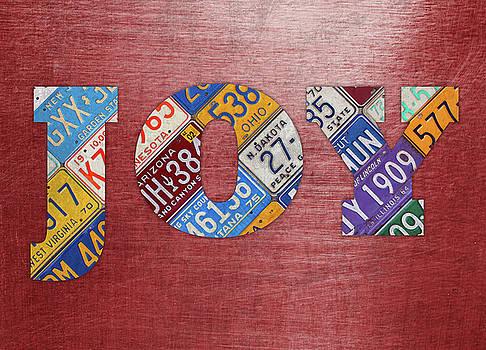 Design Turnpike - Joy Words License Plate Art on Metal