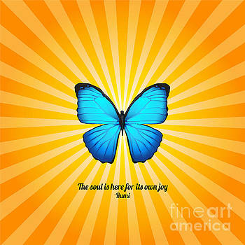 Ginny Gaura - Joyful Butterfly with Quote by Rumi