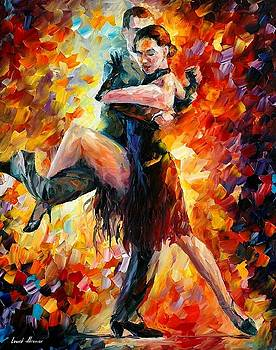 Joyful Tango - PALETTE KNIFE Oil Painting On Canvas By Leonid Afremov by Leonid Afremov