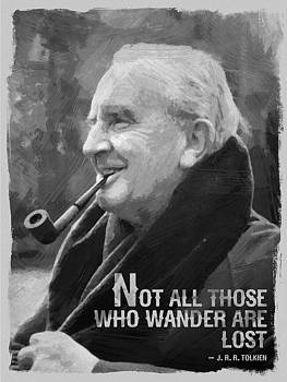 J.R.R. Tolkien Quote Black White by After Darkness