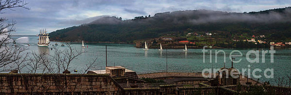 Juan Sebastian Elcano Panorama Arriving To The Port Of Ferrol by Pablo Avanzini