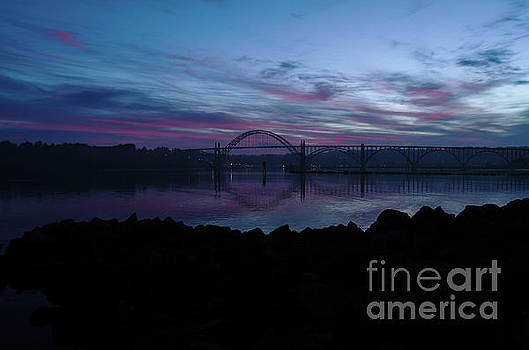 July 4 2017 Sunrise over Yaquina Harbor Newport Oregon by Along The Trail